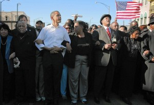 Preseident Obama marching in Selma