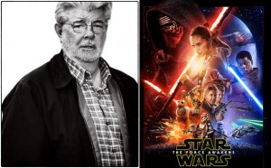 George Lucas and the poster for the newest Star Wars movie