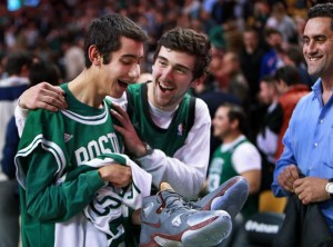 Aaron Miller after meeting LeBron James (Boston Globe photo)