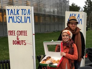 Mona Haydar and her husband, Sebastian Robins, in Cambridge. (Boston Globe photo)