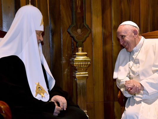 Pope Francis meets with the head of the Russian Orthodox Church, Patriarch Kirill, in Havana yesterday. (Photo: Gabriel Bouys, AFP/Getty Images)