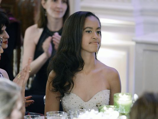 Malia Obama at this week's state dinner (pool photo)
