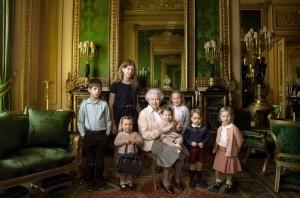 Queen Elizabeth with her grand children and great grandchildren.