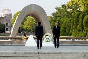 The President at the Hiroshima Memorial, (NY Times photo)