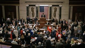 Bedlam in the US House. (AP photo)