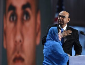 Khizr Khan and his wife at the Democratic convention this week. (Getty Images)