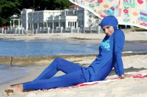 A Burkini bathing suit on the beach