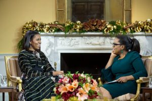Oprah Winfrey (right) interviews the First Lady. (White House photo)