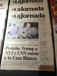 Mexican newspapers commenting on Trump's attempts to keep some journalists out of the White House press briefing