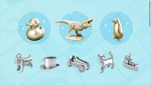 New Monopoly game pieces include T-Rex, a duck and a penguin