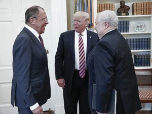 Mr. Trump with Russian officials in the Oval Office. No US media allowed. (Photo: Russian foreign ministry photo via AP)