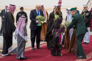 The President and Melania Trump arrive in Saudi Arabia. (NYT photo)