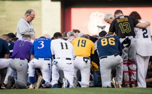 Offering prayers at this week's Congressional baseball game. (Roll Call Photo)