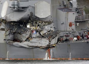 The damage to the USS Fitzgerald, where 7 sailors died. (AP photo)