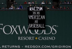 Racism at Fenway Park in Boston.? (Boston Globe Photo)