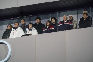 Vice President Mike Pence and his wife, standing in front of the North Korean delegation at the start of the Winter Olympics. (NYT photo)