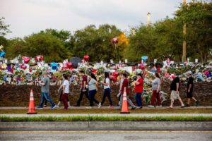 Students in Parkland Florida, return to class this week. (NYTimes photo)