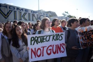 Students protesting gun violence in schools.